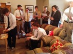 Young men singing How Great Thou Art